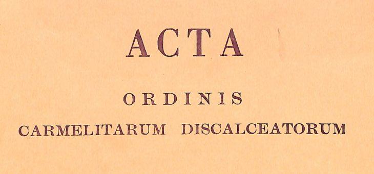Acta Ordinis, dal 1956 fino ai nostri giorni